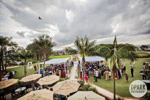 Indian wedding aerial view Laguna Cliffs Marriott Resort & Spa