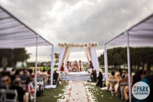 Indian wedding white floral mandap at Laguna Cliffs Marriott