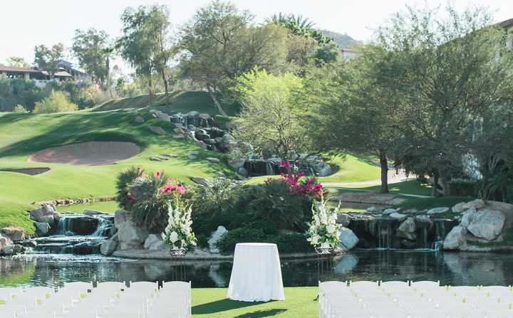 The Island Green wedding ceremony venue at Arizona Grand Resort