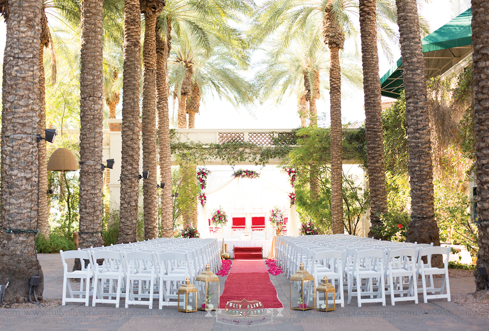 Indian wedding setup for mandap and chairs at Arizona Grand Resort & Spa