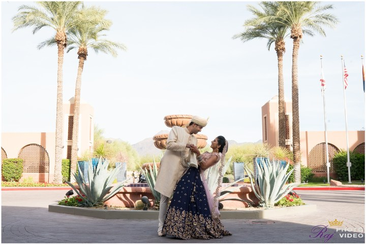 Indian wedding couple romantic photo Scottsdale Marriott at McDowell Mountains