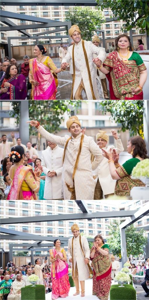 Indian groom dancing at his baraat