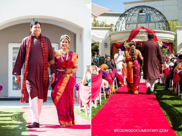 Indian bride walking down the aisle San Mateo Marriott