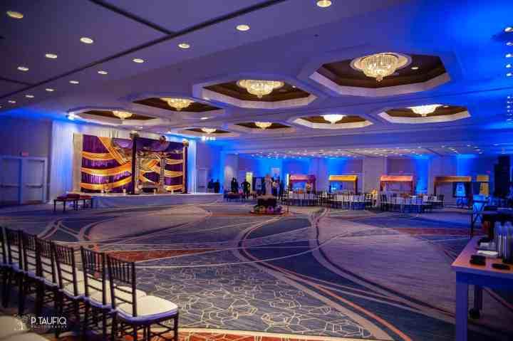 Empty ballroom at a Marriott in Boston