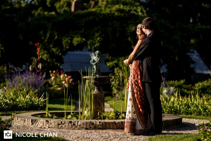 Romantic shot of Indian bride and a groom on their wedding day
