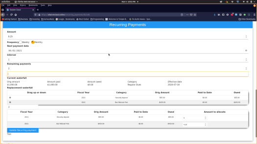 allocation recurring payments