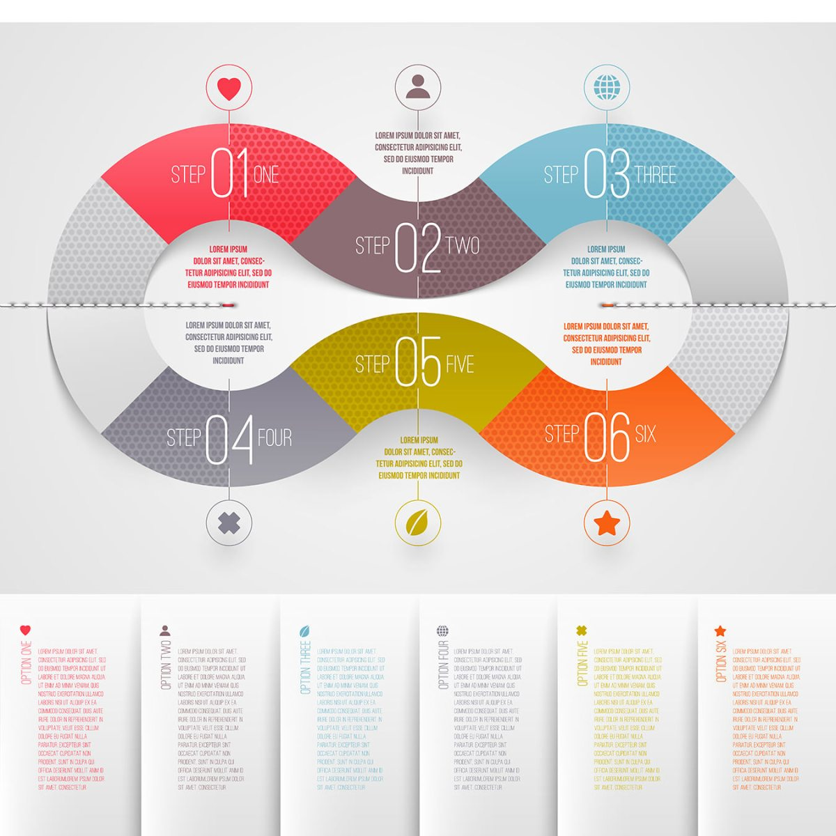 Infographics design template - abstract numbered color paper waves shapes