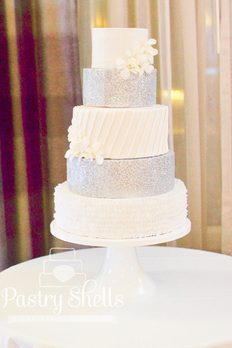 Wedding cake with clean lines and sparkle.