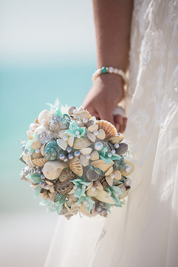 sea shell wedding bouquet