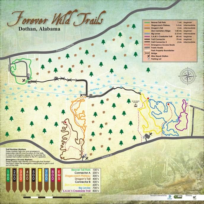Dothan, AL Forever Wild Trails Map