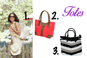 Set of three cream, imperial red, and stripe pattern tote bags for women.