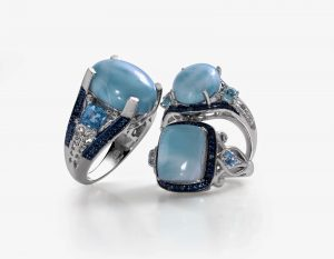 Set of three Larimar rings.