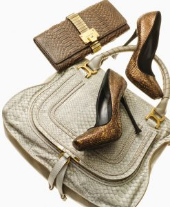 Selection of snake print heels, clutch, and handbag.