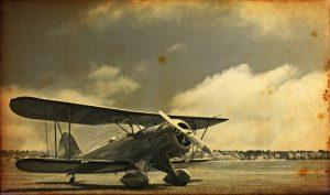 Historic photo of biplane.