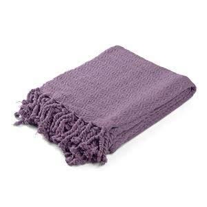 Folded lavender throw blanket.