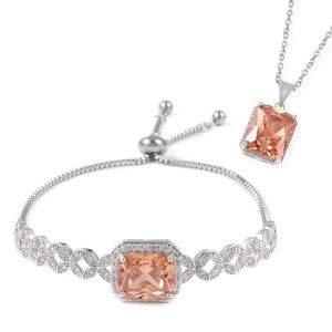 Simulated champagne diamond jewelry set.