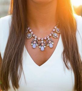 Statement Necklaces with a simple Tee.