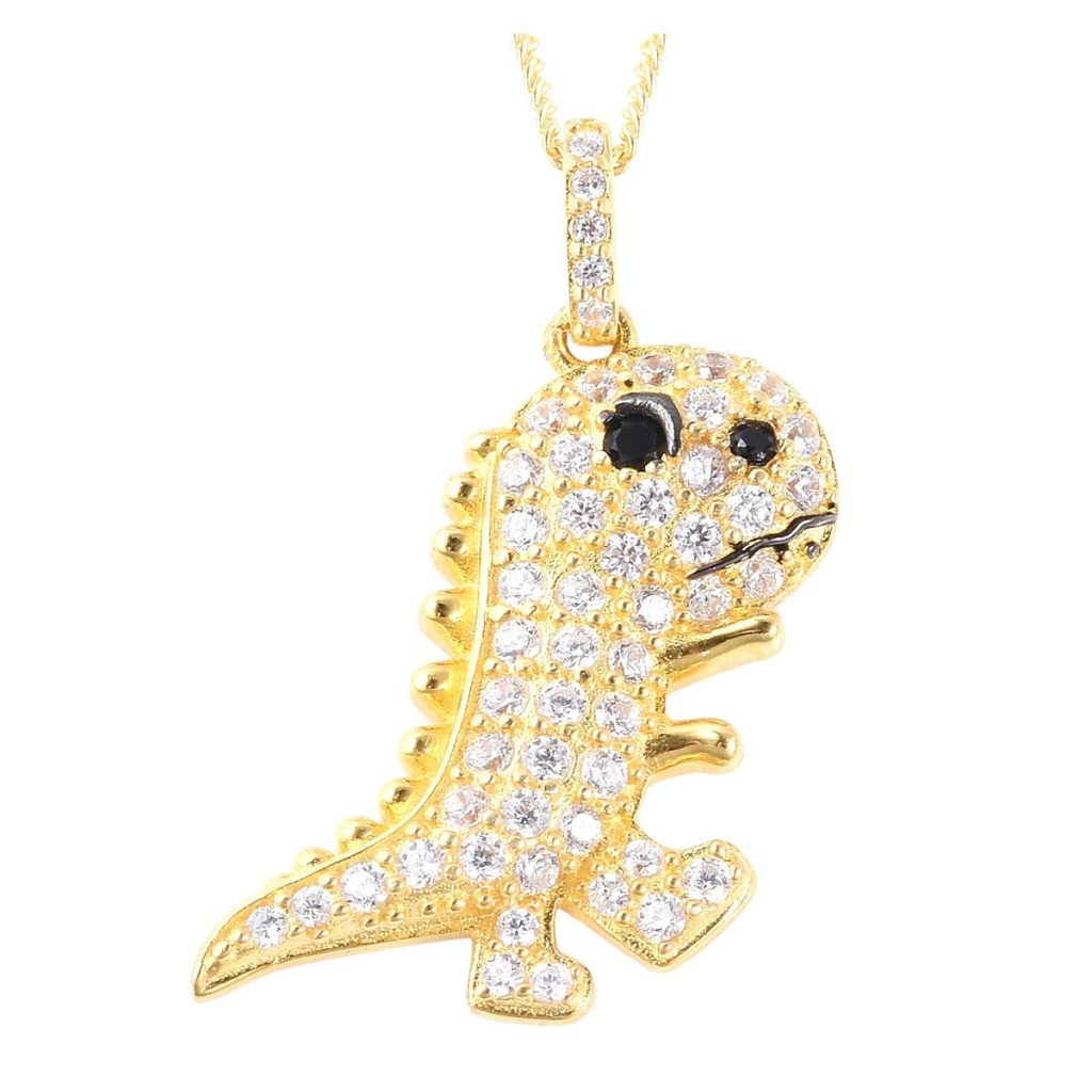 Simulated Black and White Diamond Dinosaur Pendant Necklace
