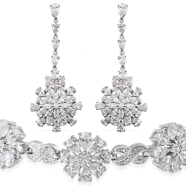 Swarovski zirconia earrings and bracelet set.