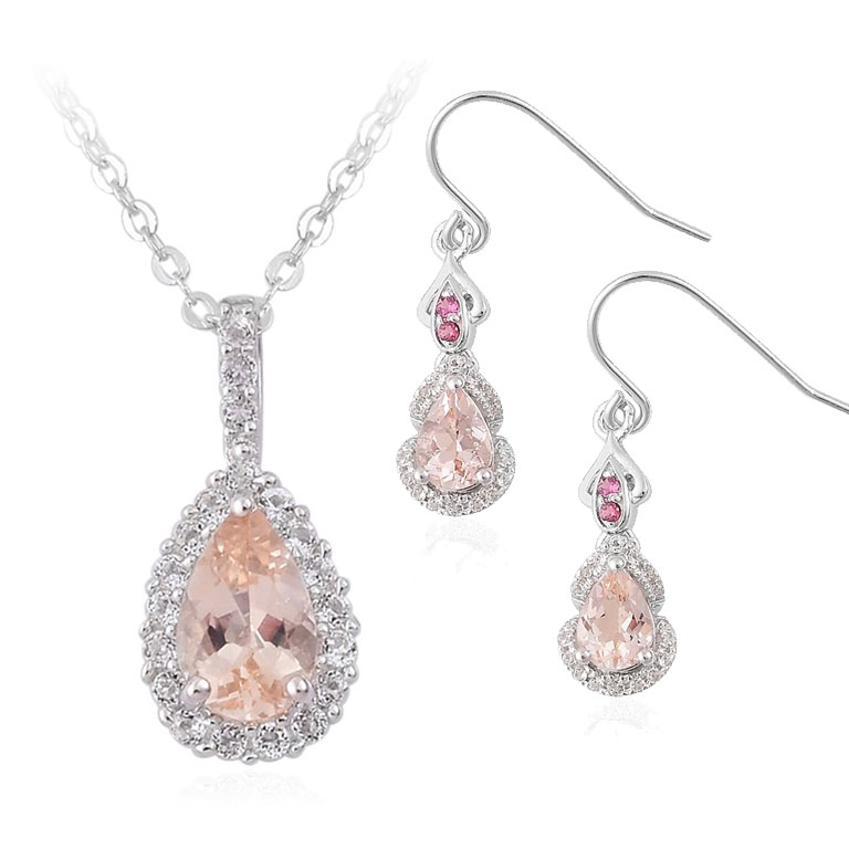 Morganite summer wedding jewelry.