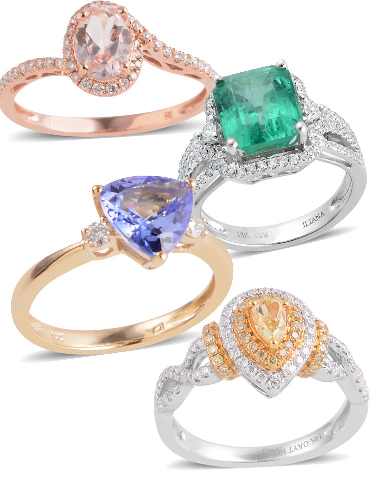 Diamond and gemstone engagement rings.