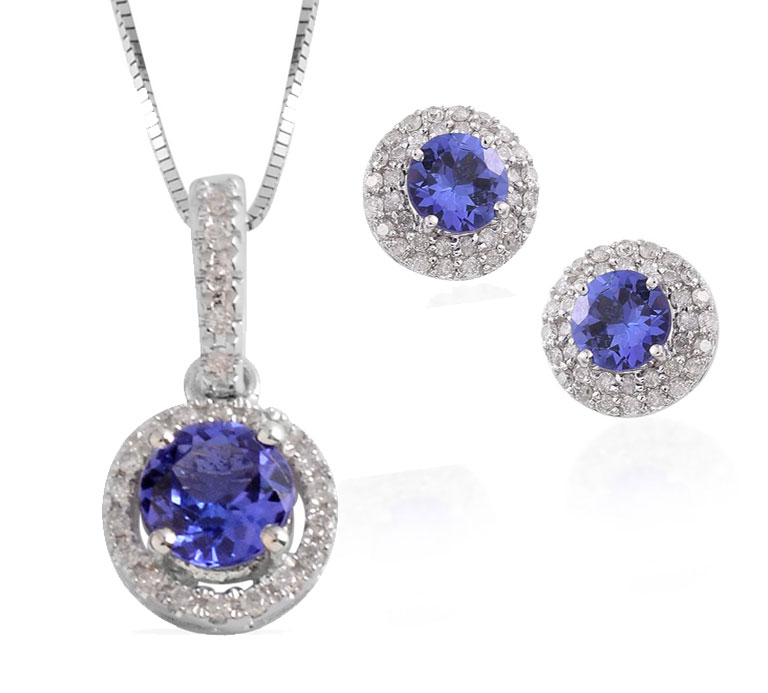 Tanzanite wedding jewelry sets.