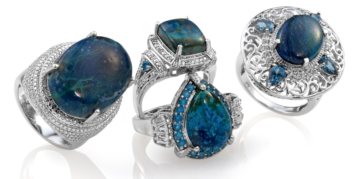 A selection of shadowkite rings featuring different stone shapes.