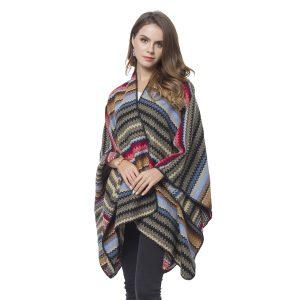 Woman wearing a striped shawl wrap.