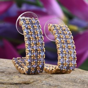 Tanzanite j-hoop earrings.
