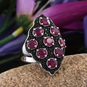 A ruby and spinel ring in sterling silver.