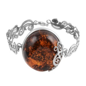 Baltic amber bracelet in sterling silver.
