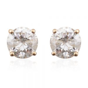Round brilliant diamond earrings in 14 carat gold.