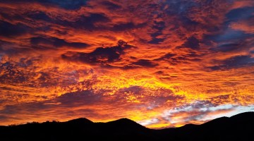 Sunset over Oregon mountains.