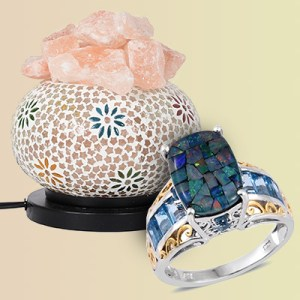 A mosaic ring and mosaic lamp.
