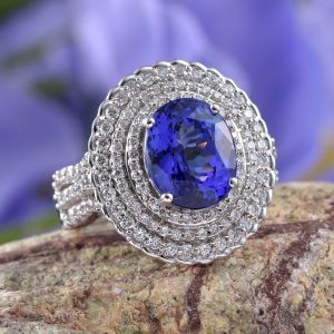 AAA tanzanite and diamond ring in 18K white gold.