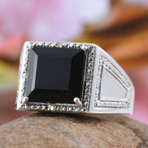 Black tourmaline men's ring.