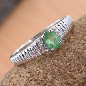 Emerald birthstone men's ring.