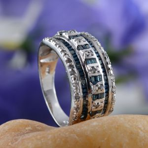 Blue diamond women's eternity band ring.