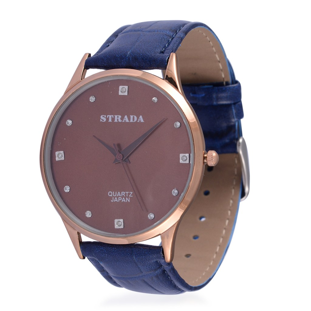 Strada fashion watch with rose gold bezel, tan dial, and blue band.
