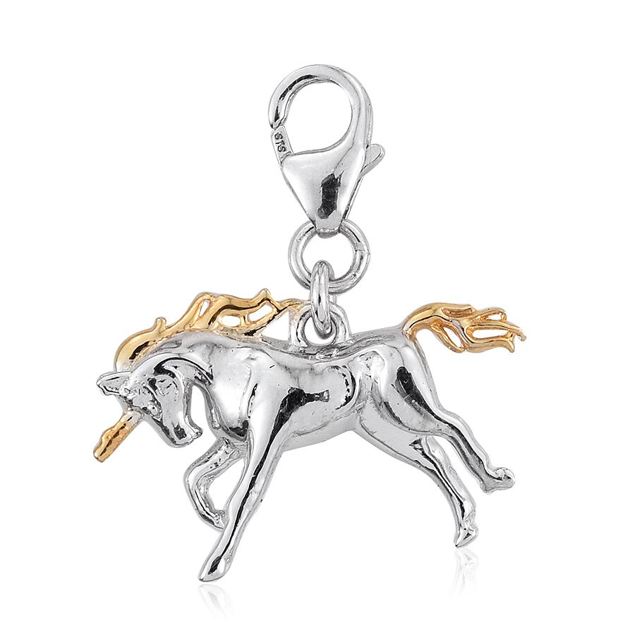 Sterling silver unicorn pendant with 14k gold accents.