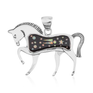 Sterling silver horse jewelry pendant with black onyx and white opal.
