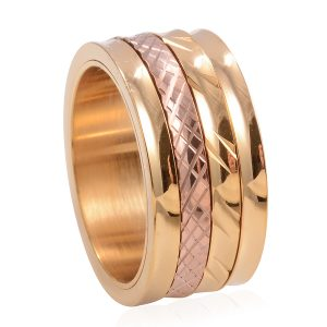 Two tone gold ion plated ring.
