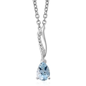 Sky blue topaz pear-shape pendant.