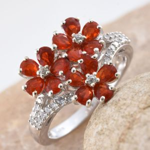 Floral fire opal ring in sterling silver.