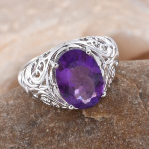 Lusaka amethyst cocktail ring in sterling silver.