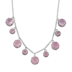 Rose quartz statement necklace.