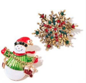 Snowman Brooch and Snowflake Brooch