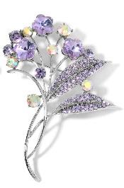 Lavender floral brooch