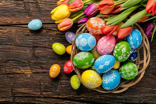 easter basket with dyed eggs