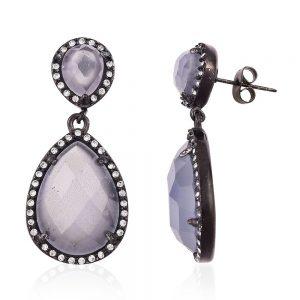 drop simulated gem earrings